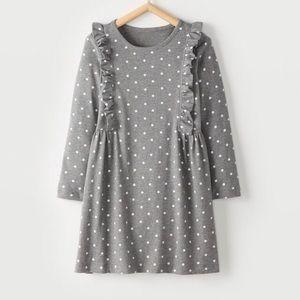 Hanna Andersson Polka Dot Ruffle Dress Gray US 8